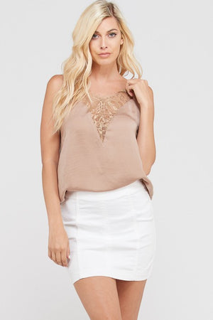 THE EYELASH LACE CAMI - CHAMPAGNE