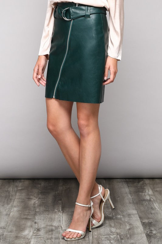 THE OCTAVIA LEATHER LOOK SKIRT
