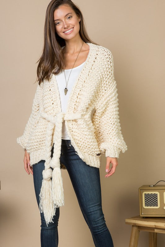 THE SAVANNAH BRAIDED TIE CARDIGAN