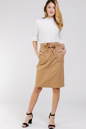 THE ALLURE WAIST-TIE MIDI SKIRT