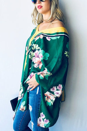 THE ARUN KIMONO TOP - KELLY GREEN