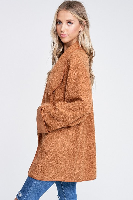 THE ISIA TEDDY WRAP JACKET - TAN