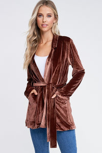 THE JAYNA VELVET BLAZER - BROWN - ONLINE EXCLUSIVE!