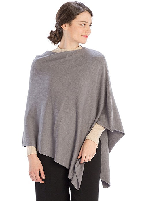 THE CASHMERE MIX ESSENTIAL PONCHO - NAVY