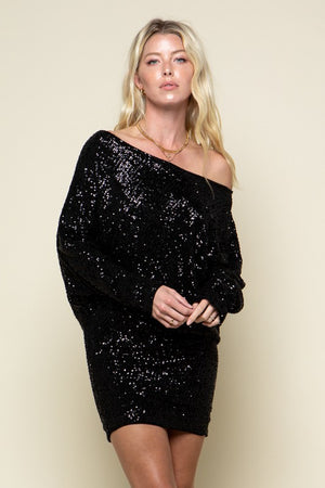 THE ALL I WANT IS YOU SEQUIN DRESS - BLACK
