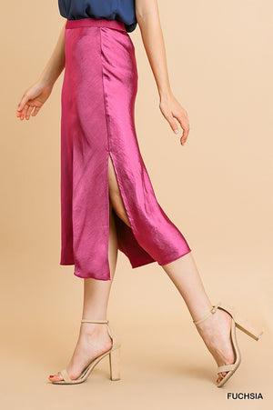 THE CANDLELIT SATIN MIDI SKIRT - HOT PINK