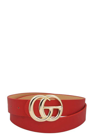 THE LUXURIOUS DOUBLE BUCKLE BLACK BELT - RED