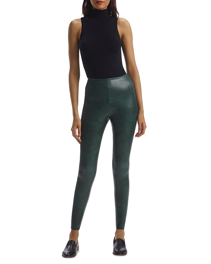 COMMANDO brand FAUX LEATHER ANIMAL LEGGINGS with Perfect Control - GREEN CROC