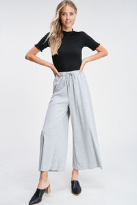 THE SHERRI RIBBED KNIT PANTS - HEATHER GREY
