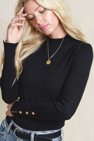THE BRIELLE LONG-SLEEVE BASIC KNIT - BLACK