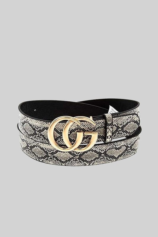THE LUXURIOUS DOUBLE BUCKLE BELT - BROWN SNAKE