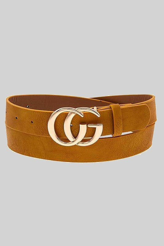 THE LUXURIOUS DOUBLE BUCKLE BELT - MUSTARD
