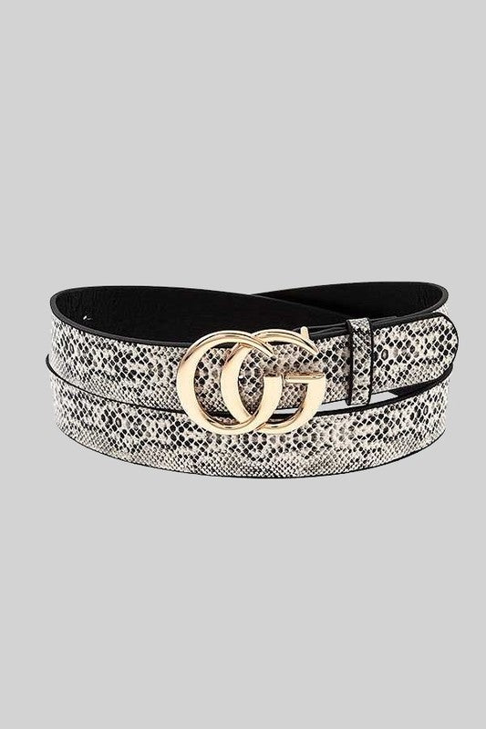 THE LUXURIOUS DOUBLE BUCKLE BELT - GREY SNAKE