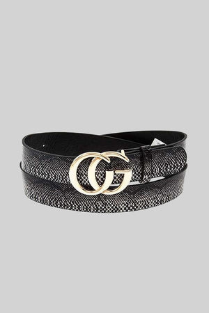 THE LUXURIOUS DOUBLE BUCKLE BELT - BLACK SNAKE