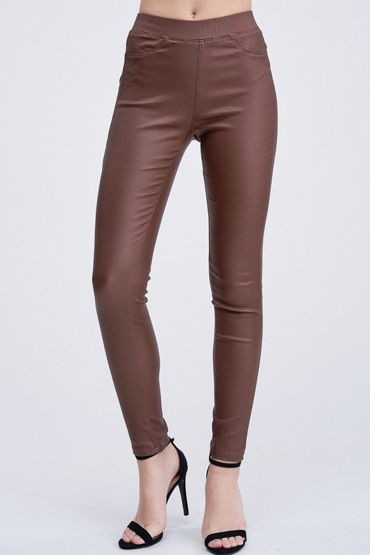 THE ESSENTIAL WAX-COATED JEGGING - STONE