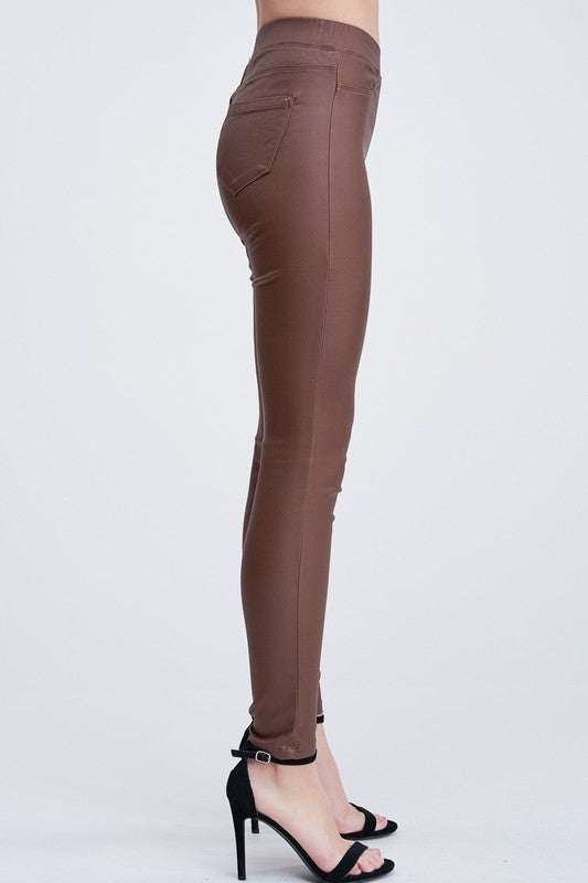 THE ESSENTIAL WAX-COATED JEGGING - MOCHA