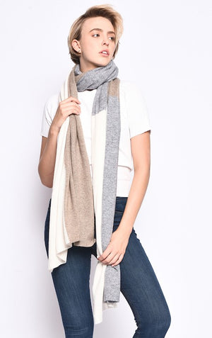 THE EVERYWHERE CASHMERE WRAP - BLACK/GREY/PURPLE