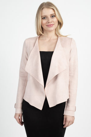 THE EDIT ESSENTIAL FAUX SUEDE JACKET - BLUSH