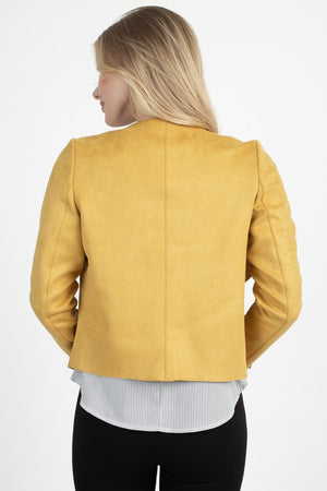 THE EDIT ESSENTIAL FAUX SUEDE JACKET - SUNFLOWER
