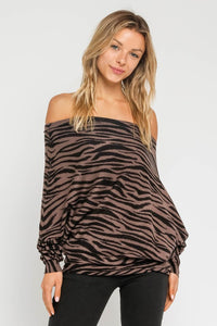 THE SUPREME ZEBRA OFF-THE-SHOULDER KNIT - BROWN ZEBRA