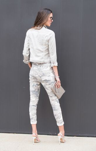 THE MADE IN ITALY CAMO & SEQUIN PANTS