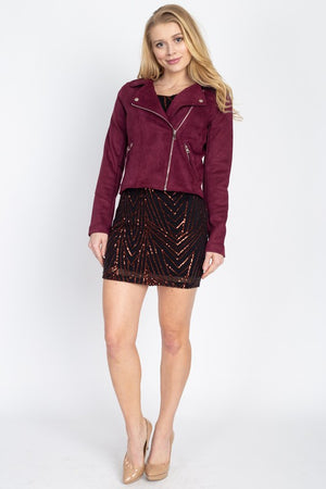 THE MONROE MOTO JACKET - BURGUNDY