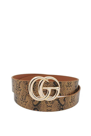 THE LUXURIOUS DOUBLE BUCKLE SNAKE PRINT BELT