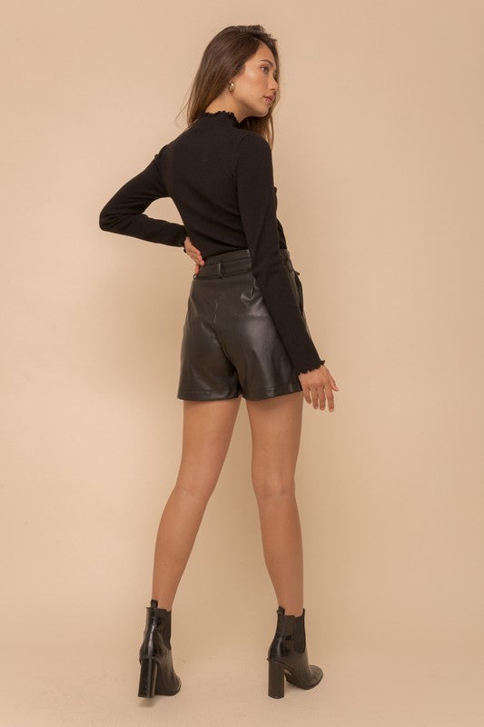 THE FAUX SURE LEATHER LOOK SHORTS