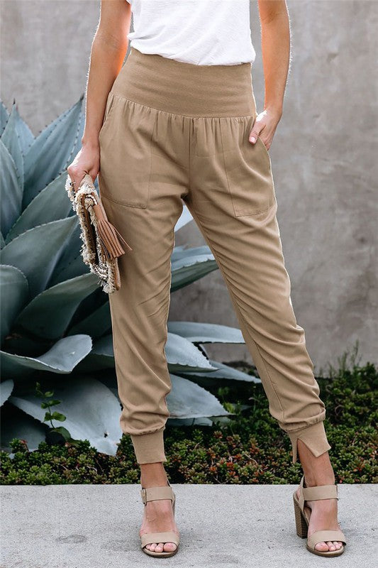 THE STYLE MY DAY COTTON JOGGERS  - BEIGE - ONE LEFT!!