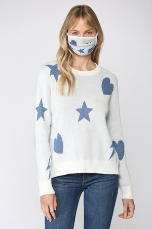 THE ETOILE COTTON KNIT - WHITE/BLUE