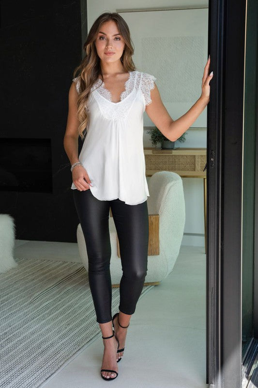 THE PIAZZA LACE TOP - WHITE