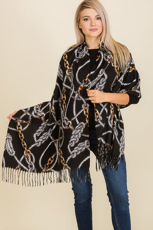 THE EQUESTRIAN PRINT CASHMERE FEEL SCARF