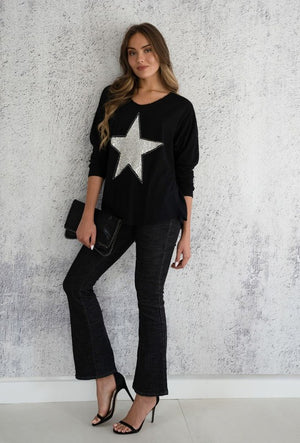 THE BLACK MOCHA SPARKLE STAR TOP