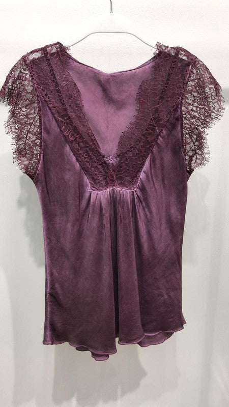 THE PIAZZA LACE TOP - PLUM