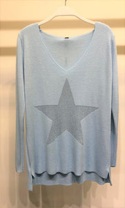 THE SPARKLE STAR SWEATER - SKY BLUE
