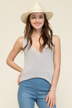 THE WILLOW KNIT TANK TOP - HEATHER GREY
