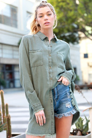 THE ESSENTIAL EDIT OLIVE DENIM-STYLE SHIRT/DRESS