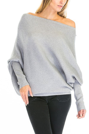 THE ESSENTIAL ASYMMETRIC - CASHMERE MIX - HEATHER GREY