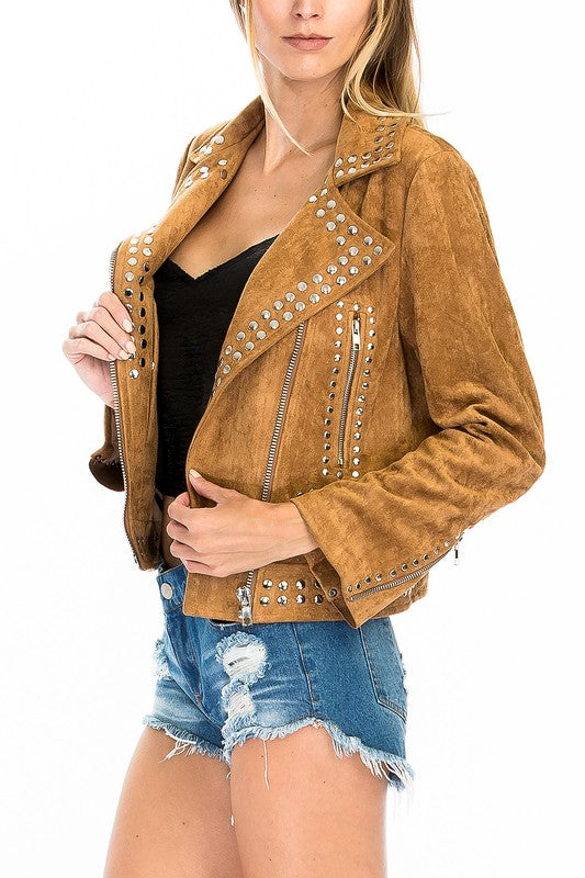 THE HIGH MARKET FAUX SUEDE JACKET - TAN