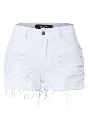 THE TAKE ME TO THE RESORT WHITE SHREDDED SHORTS