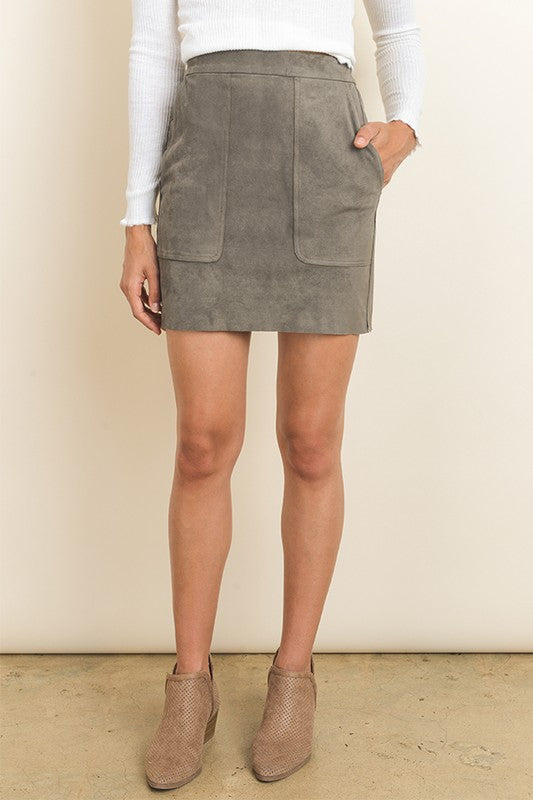 THE HAZEL SUEDE LOOK SKIRT