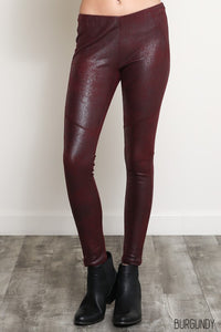 THE VERDI SUEDETTE LEGGINGS - BURGUNDY