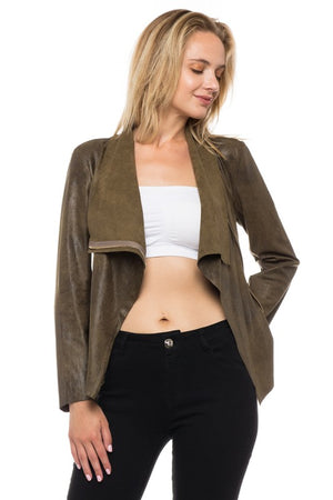 THE ESSENTIAL LIGHTWEIGHT SUEDE LOOK JACKET - OLIVE