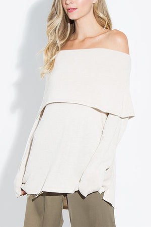 THE ADELINE OFF-THE-SHOULDER LIGHTWEIGHT SWEATER
