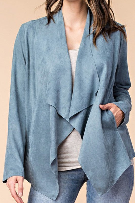 THE PORTIA DRAPED SUEDE LOOK JACKET