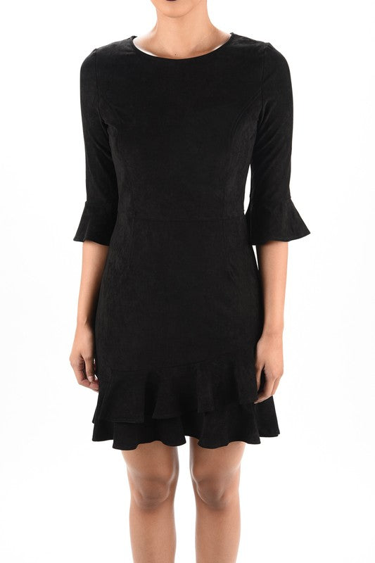 THE IVY SUEDETTE DRESS - BLACK