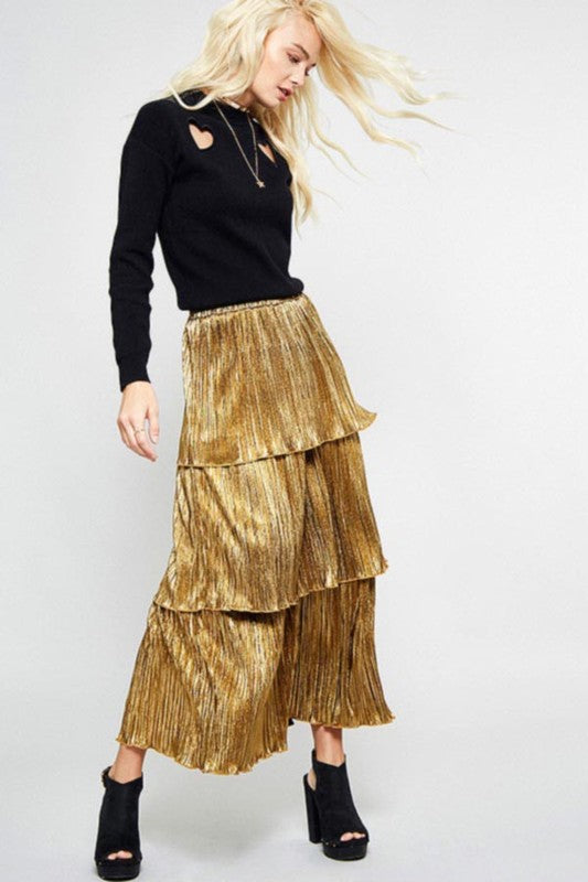 THE CLEOPATRA'S GOLD TIERED SKIRT