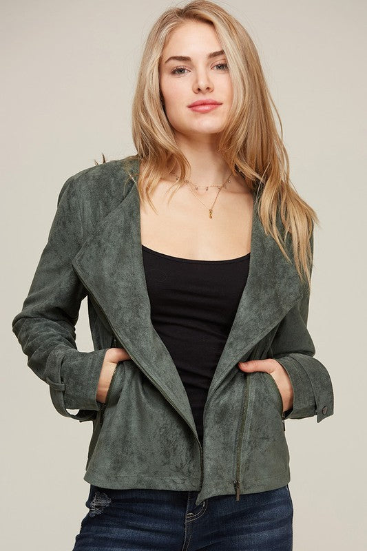 THE OLIVE FOREVER SUEDE JACKET