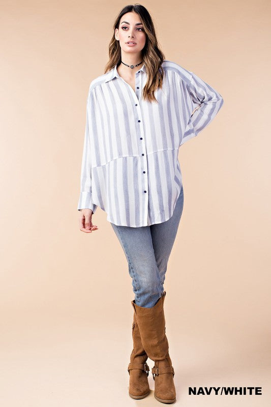 THE MEGHAN OVERSIZED STRIPED SHIRT
