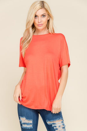 THE TURNAROUND TEE - CORAL